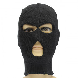 3 Hole Black Knitted Winter Ski Balaclava Beanie Hood Cap Hat
