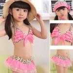 3PCS Baby Toddler Girls Swimwear Leopard Bikini Kid Swimsuit Water Sports