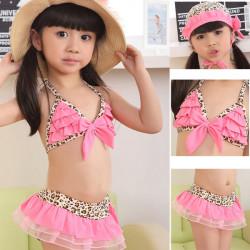 3PCS Baby Toddler Girls Swimwear Leopard Bikini Kid Swimsuit
