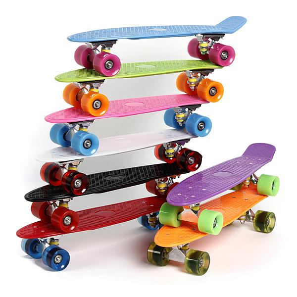 4 Wheels Skateboard Deck Mini Cruiser Skate Fisch langes Brett Outdoor Erholung