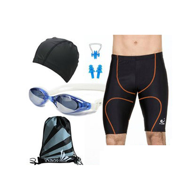 Black Swimming suit Swimming Goggles and Hat SET for Men Water Sports