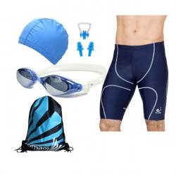 Blue Swimming suit Swimming Goggles and Hat SET for Men