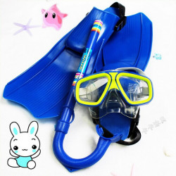Children Diving Swimming Set 3PCS Goggles Mask+Dry Snorkel+Flippers
