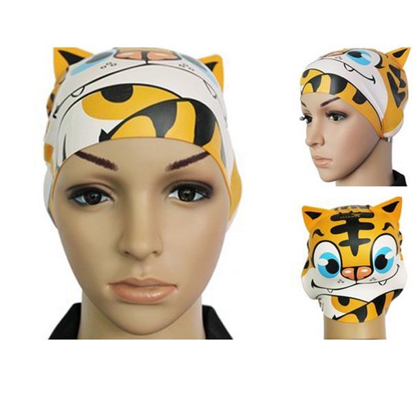 Barn Silikon Djur Tecknad Simmössa Tiger Swimming Hat Vattensport