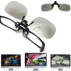 Clip On Circular 3D Polarized Myopia Eye Glasses Lens TV Cinema Movie Film Imax