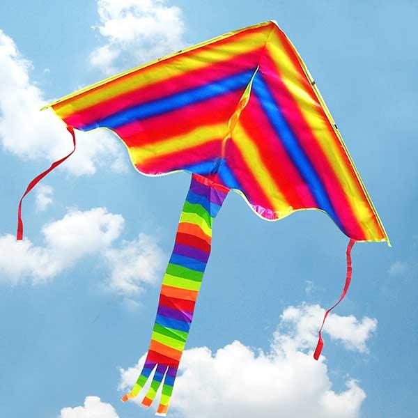 Farverige Rainbow Trekantet Drageflyvning Moderne Drage for Børn Udendørs Leg