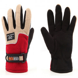 Female Fleece Outdoor Ski Gloves Warm Windproof
