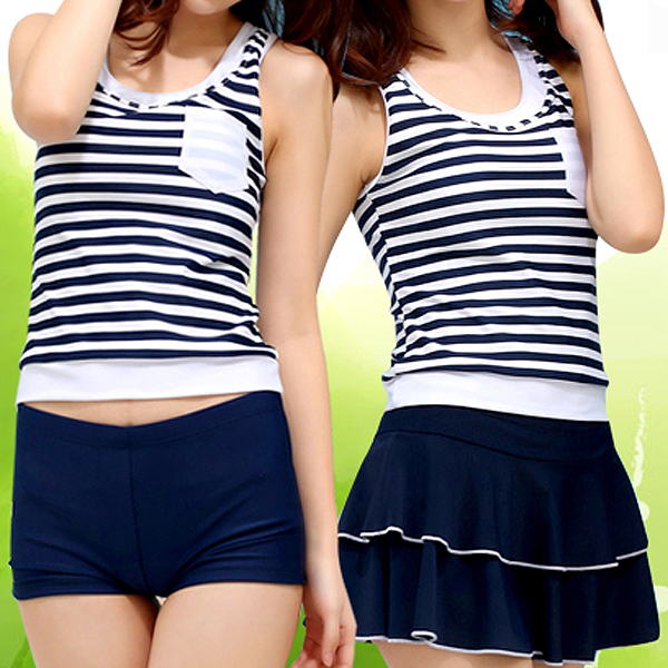 Navy Style Three Piece Women Skirt Split Swimsuit XL Water Sports