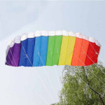 Nylon Line Blød Plus Materiale Parachute Rainbow Sports Beach Kite Udendørs Leg