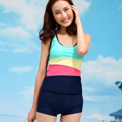 Rainbow Stripe Swimwear Sport Bathing Suit Swimsuit