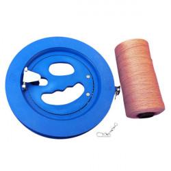 Runde blaue Kunststoff ABS 18cm Drachen Haspel mit 220m Steckverbinder