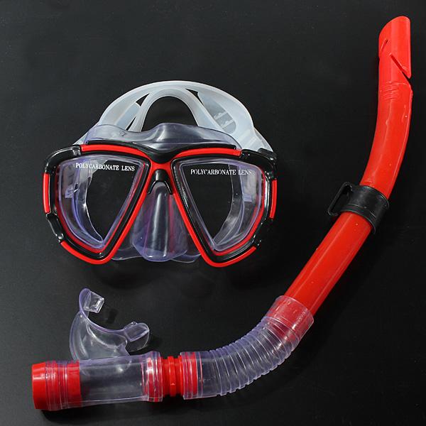 Swimming Dykutrustning Dive Mask + Torr Snorkel Set Vattensport
