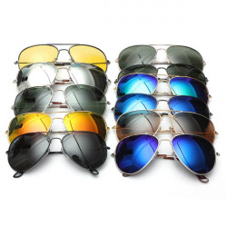 UV400 Polarized Goggle Metal Aviator Sunglasses Eyewear Mirror