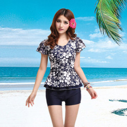 Women Split Slim Swimsuit Print Short Sleeve Spa Swimsuit