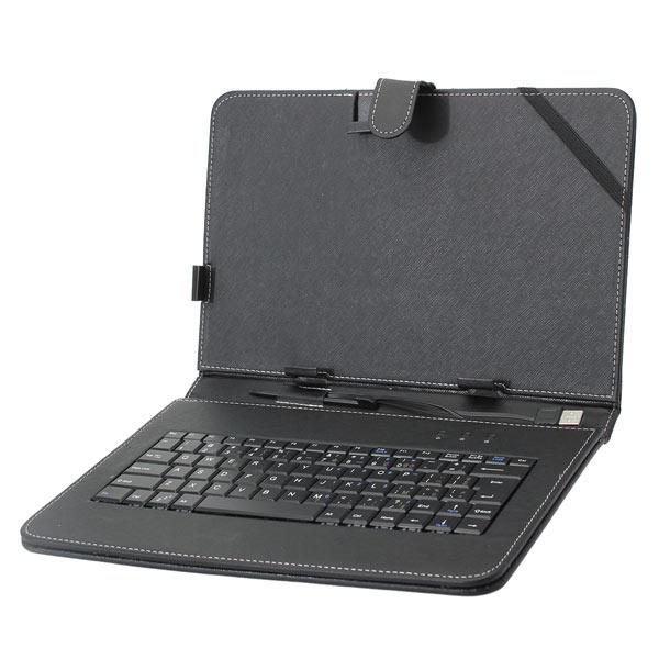 10,1 tums franska tangentbord PU Läderfallet täcker med Ställ till Tablet PC