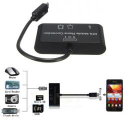 3 In 1 Micro Reader Adapter USB OTG Kortläsare för Surfplatta Mobiltelefon