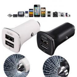5V 2A Dual Portar USB Billaddare Adapter + Safety Hammer för Surfplatta
