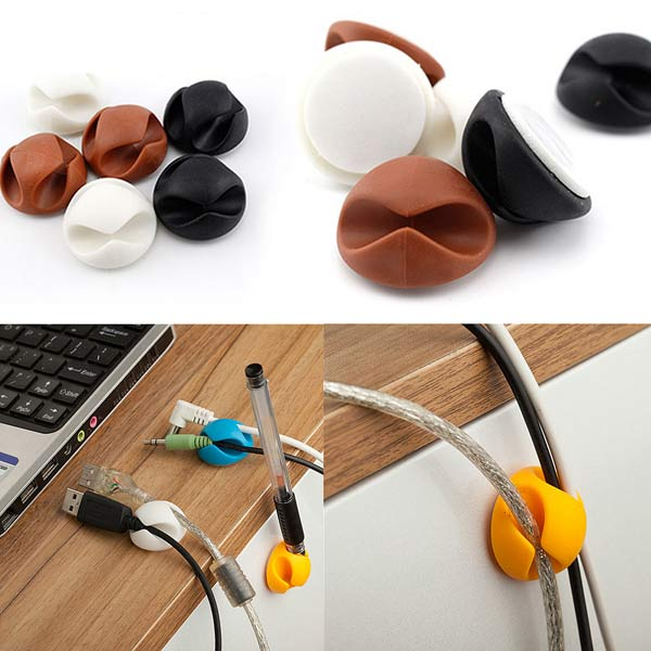 6Pcs Wire Cable Clips Ties USB Charger Holder Organizer With Adhesive Tablet Accessories