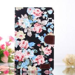 Cotton Print Design Folio PU Leather Case For Samsung Galaxy T320