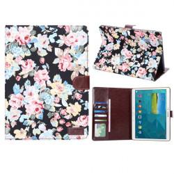 Bomull Print Design Folio PU Läderfodral till Samsung Galaxy T800