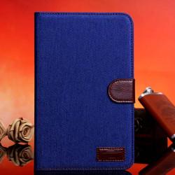 Denim Design Folio PU Læder Cover til Samsung Galaxy T110