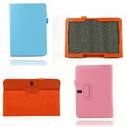 Lichee Mønster Folding Stativ PU Læder Taske til Samsung T520