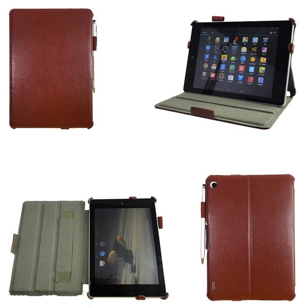 Litchi Pattern Folio PU Leather Case With Handstrap+Stylus For Acer A1 Tablet Accessories