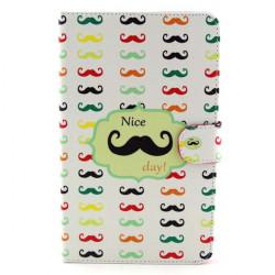 Mustache Mønster Folio PU Læder Cover til Samsung T330