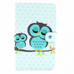 Owl Pattern Folio PU Leather Case Cover For Samsung T230