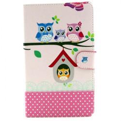 Owl Mönster Folio PU Läderfodral Vikbart Ställ Fodral för Samsung T530