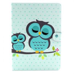Owl Mönster Folio PU Läderfodral Vikbart Ställ Fodral för Samsung T800