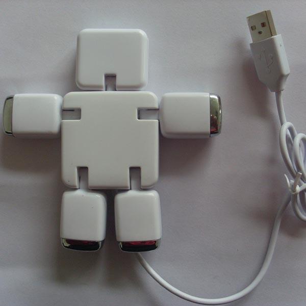 Robot Design 2.0 USB Splitter 4 In 1 HUB Kabel för iMobil Surfplatta Surfplatta Tillbehör