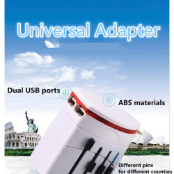 Universal International Multi Travel Plug Adapter 2 USB Charger
