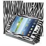 Zebra Mønster PU Læder Stativ Cover Etui til Galaxy Tab 3 P3200 Tablet Tilbehør