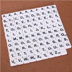 100stk Scrabble Fliser Engelske Letters Sort / Hvid Font for Børn
