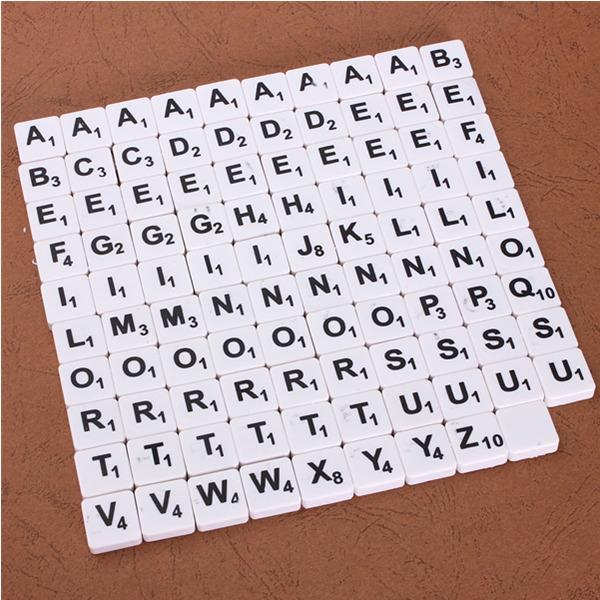 100stk Scrabble Fliser Engelske Letters Sort / Hvid Font for Børn Pædagogisk Legetøj