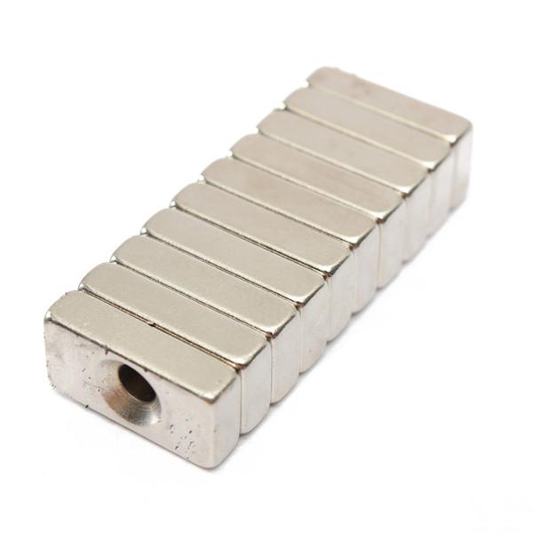 10pcs Block Magnets 20x10x5mm Hole 4mm Rare Earth Neodymium N5 Gadget Toys