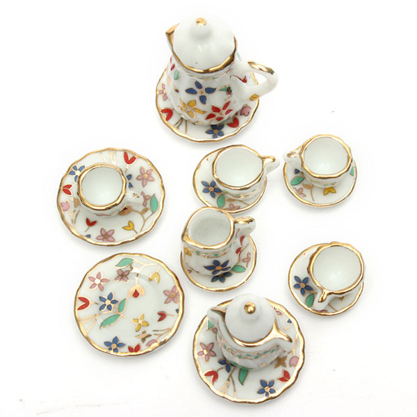 1:12 Mini Dollhouse Furniture Accessories Colorful TeaSet 15 Game & Scenery Toy