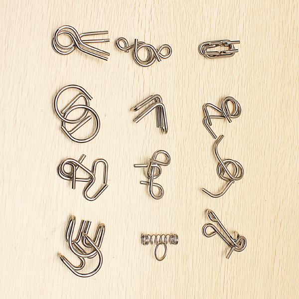 12 in 1 Metalldraht Puzzlespiel Ring Spielzeug gesetzt Baguenaudier Lernspiele