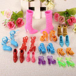 12 Pairs Fashion Dolls Shoes Heels Sandals Set For Barbie Doll