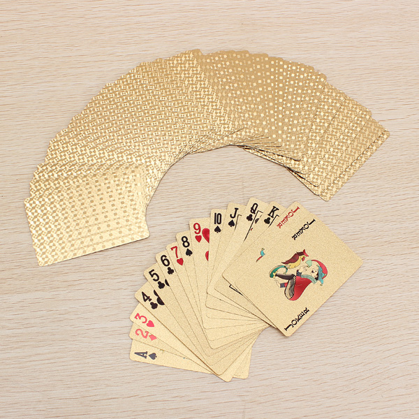 24K Gold Foil Plated Poker Playing Cards Certficate Dollar EURO Educational Toys