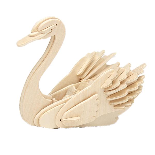 3D Djur Swan Modell Träpussel DIY Woodcraft Kit Handgjorda Modellbyggsatser