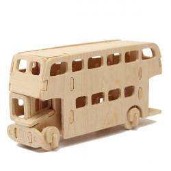 3D Pussel Träleksak Bus Fordon Woodcraft Handgjorda Leksak