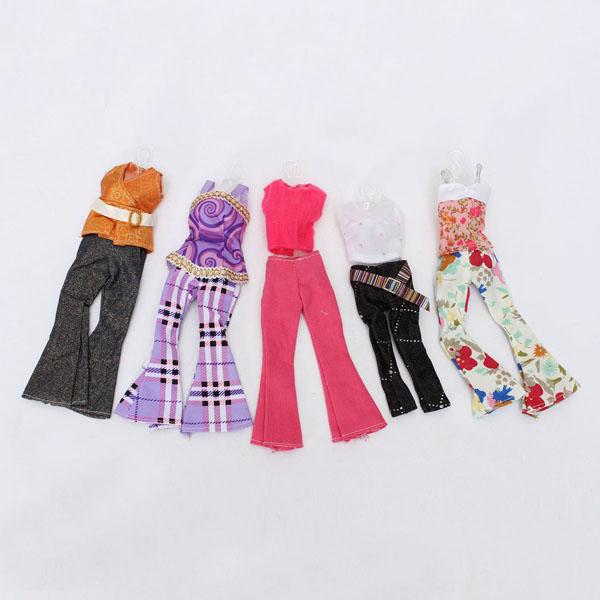 5 Ställer Blus Outfit Casual Wear Kläder Byxor för Barbie Doll Spel & Lek