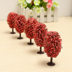 5pcs DIY Sand Table Building Model Materials Red Egg-shaped Tree