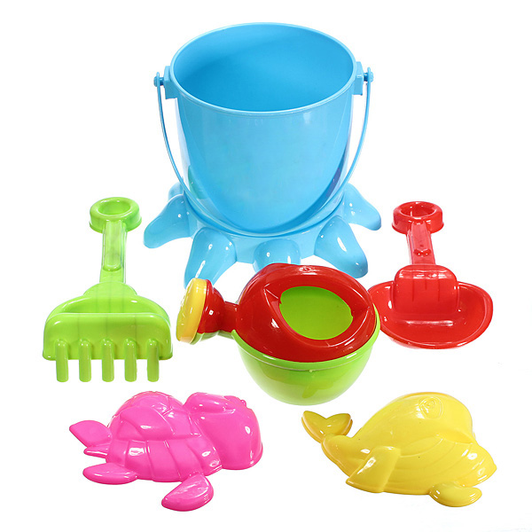7 PCS Kids Octopus Bucket Spade Rake Pot Sand Water Beach Tools Toy Game & Scenery Toy