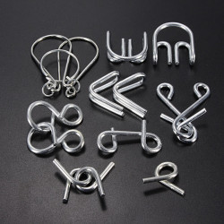 7 Sets IQ Test Toys Mind Game Brain Teaser Metal Wire Puzzles