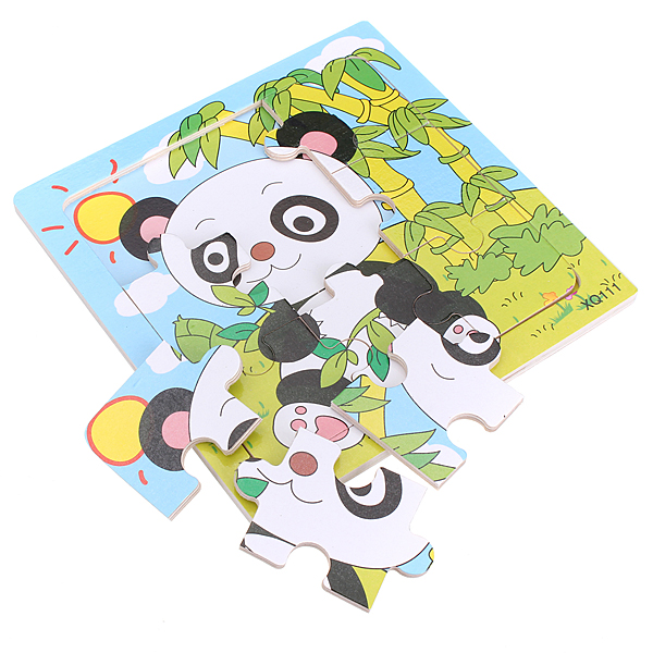 9Pcs Wooden Panda Puzzle Educational Baby Kids Training Toy Toys Model