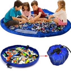 Blue Portable Kids Toys Storage Bag Play Mat Toy Organizer Rug Box