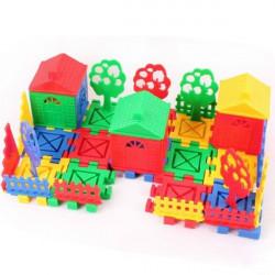Børn Pædagogisk Legetøj DIY Building Plast Blocks Farverige House